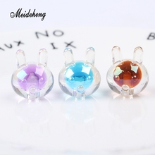 10pc/bag High-quality 16mm Acrylic Rainbow Kid Rabbit Transparent colorful Single Big Hole Beads For Jewelry Making Accessory 30pc 31x28mm multi colorful acrylic flower beads big hole six petals frosted flowers beads for jewelry making garment accessory