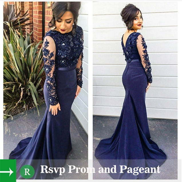 Compare Prices on Navy Blue Long Sleeve Mermaid Prom Dress- Online ...