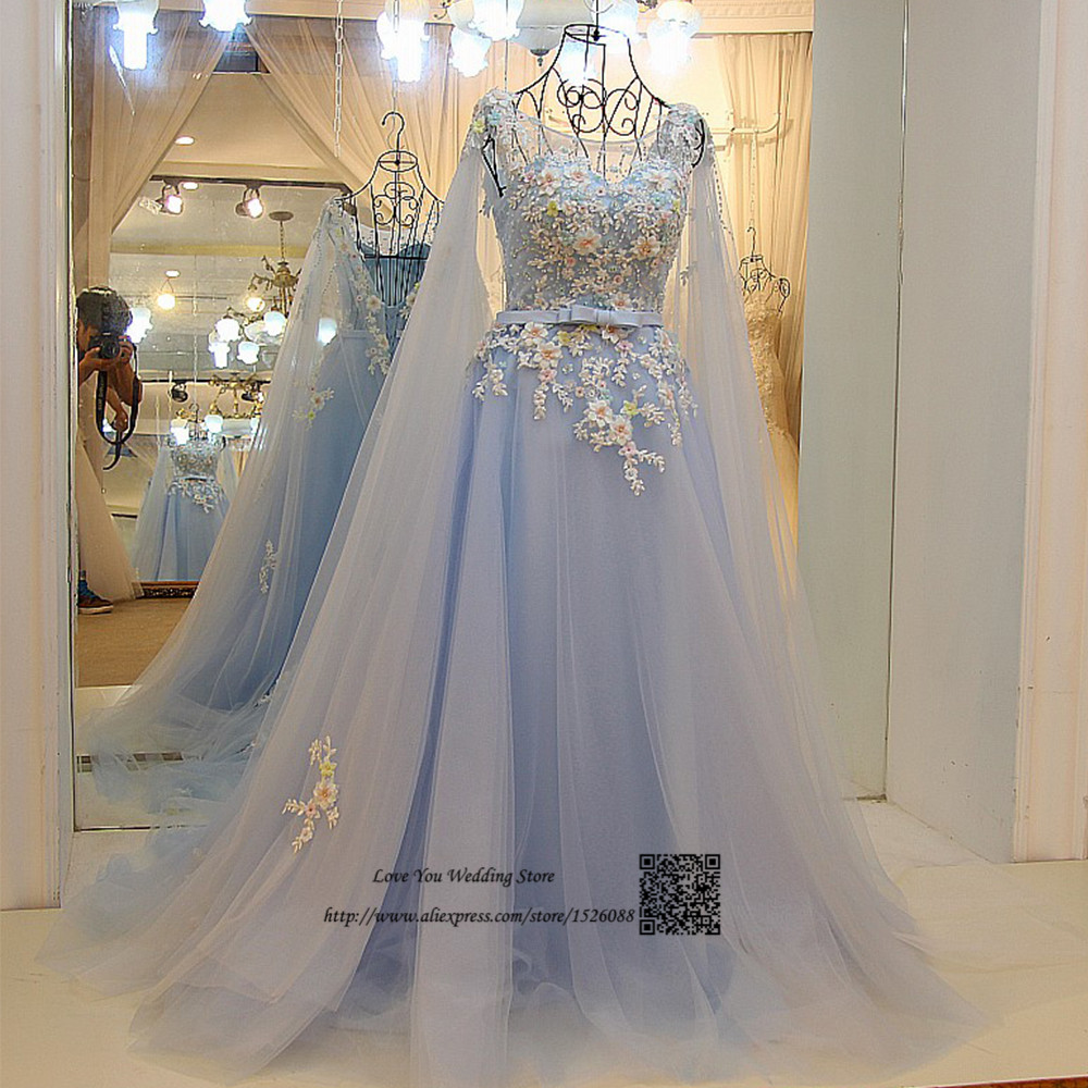 Blue Wedding Gowns 2014: Colorful Flowers Light Blue Wedding Gowns Boho Wedding