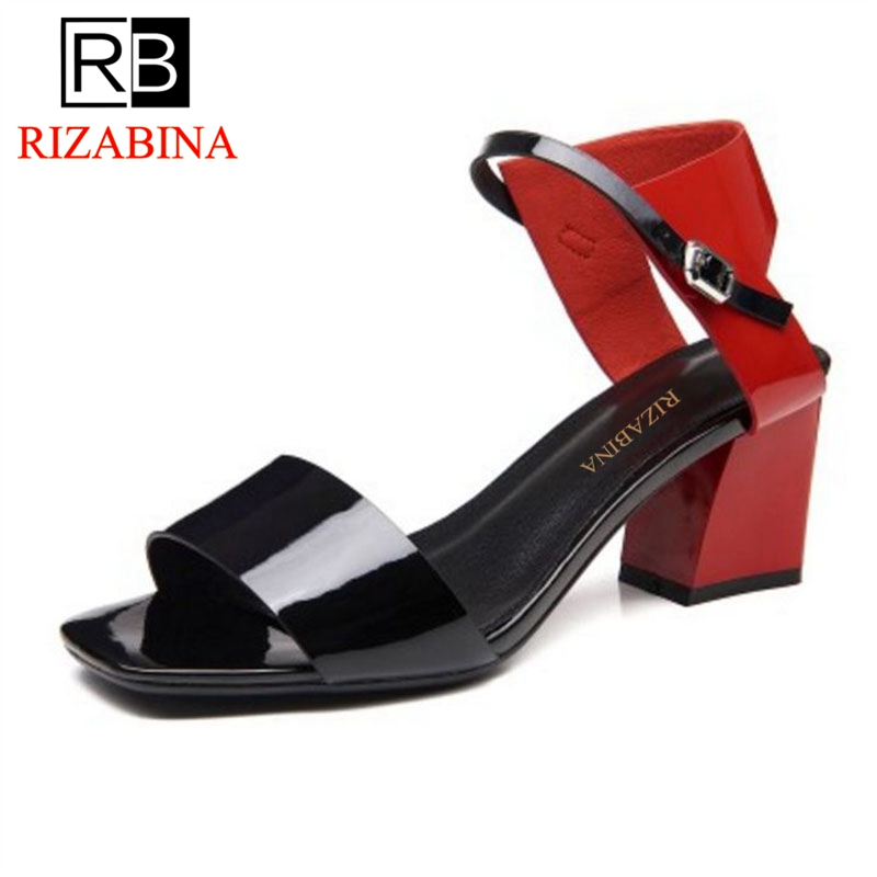 RizaBina Quality Office Lady Genuine Leather High Heel Sandals Ankle Strap Thick Heel Sandals Sexy Summer Shoes Size 34-39