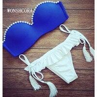 WONSHCORA Bikini Women Summer 2018 Pearl Push Up Swimwear Summer Blue Female Bikinis Beach Suit Female Thong Swimsuit for Girls