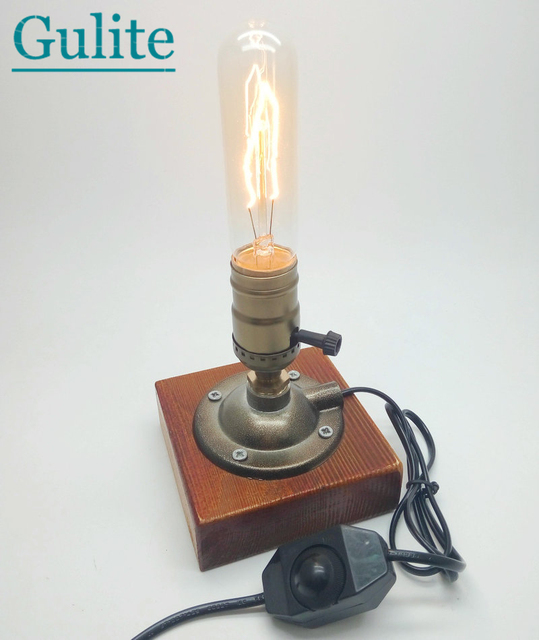 Industrial Retro Vintage Edison Table Lamp Knob/Dimmer Double Switch E27 110V/220V Wood Desk Lamp With 40W Incandescent Bulb