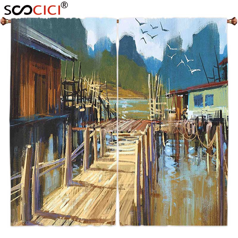 Window Curtains Treatments 2 Panels,Scenery Decor Lake Bay Ocean River with Houses and Wooden Pier Oil Painting Artwork Image