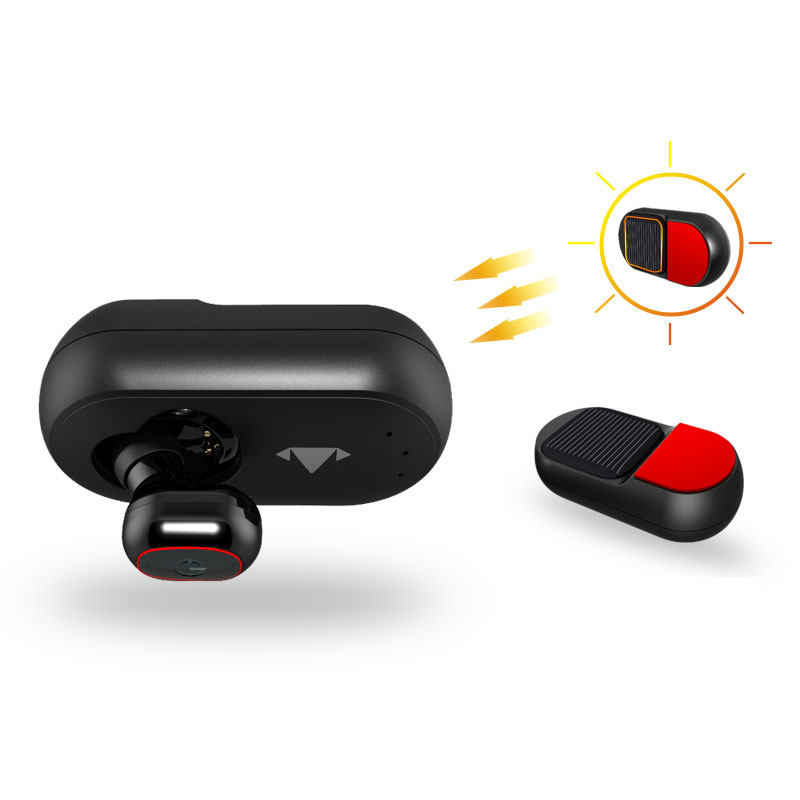 Solar Powered <font><b>Bluetooth</b></font> Car <font><b>Earphone</b></font> with Panel Magnetic Charging for Headset at Home Outdoor with Softer &#038; Pliable for All Ears