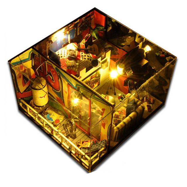 """Miniature Wood Doll House Furniture DIY Dollhouse Kit Assembling Toys for Child/Friend's Gift,""""Final Fantasy"""" Doll's House"""