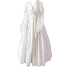 Винтаж Sexy пижамы Для женщин хлопок средневековые ночная рубашка белый v-образным вырезом Queen платье Ночное платье Лолита принцессы домашнее платье
