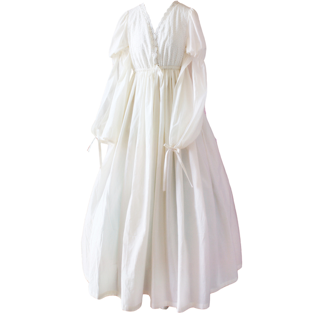 Vintage Sexy Sleepwear Women Cotton Medieval Nightgown White V-neck Queen  Dress Night Dress Lolita Princess Home Dress 658c69e326
