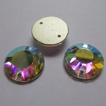 Sew On Rhinestones Round Flat Top Glass AB Clear Stones 2 Holes Crystal Strass Back Beads 8-18mm For Wedding Dresses