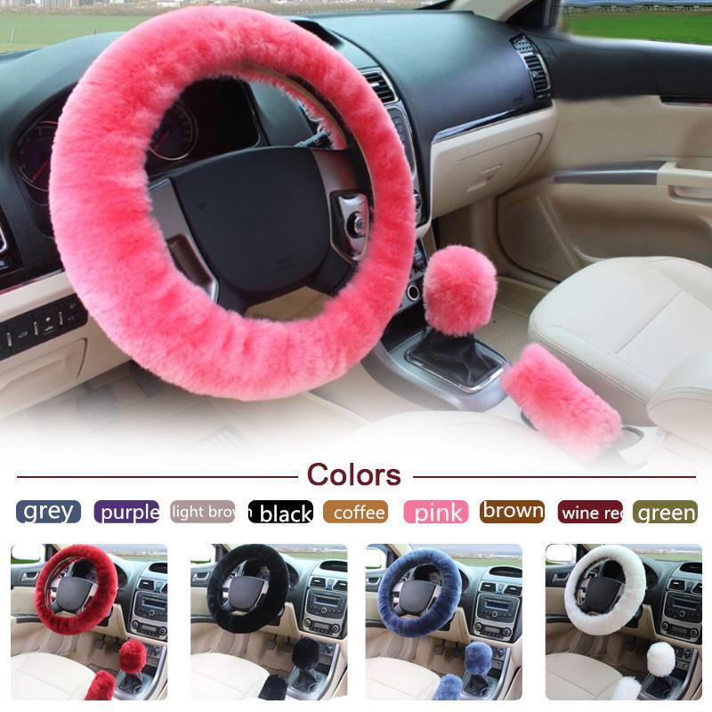 3pcs/1set Wool Plush Steering Wheel Cover Sets Pillow Winter Supplies Warm