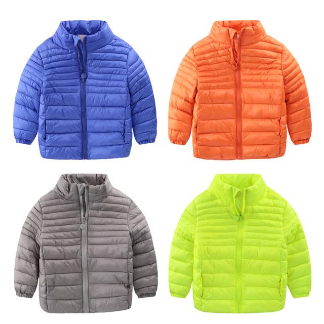 2016 novo casaco de inverno menino jaqueta com zíper fino casaco acolchoado roupas da moda para crianças