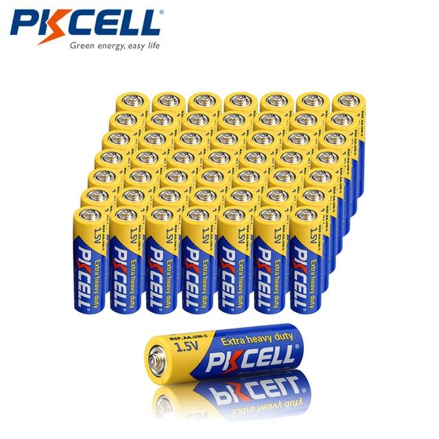 50Pcs X PKCELL R6P 1.5V Super Heavy Dutyแบตเตอรี่คาร์บอนสังกะสีAAเดียวใช้แบตเตอรี่แห้งแบตเตอรี่