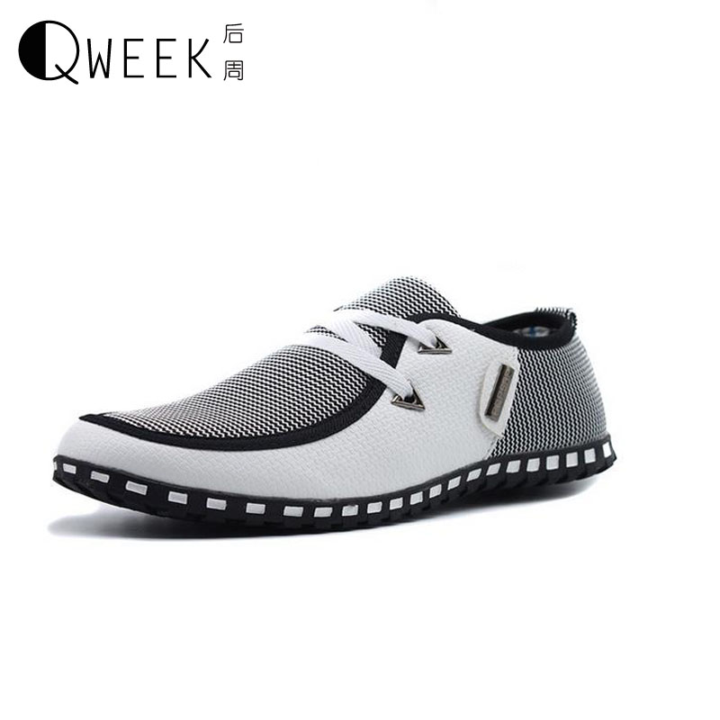 QWEEK Men Casual Shoes Canvas Mens Fashion 2017 Low Flats Breathable Patchwork Pu Leather Light Summer/Autumn Flat Shoes Male new 2015 men canvas shoes casual men flats shoes casual spring autumn fashion men flats shoes black brown fashion low style