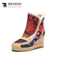 RIBETRINI 2017 Winter Fashion Artistic Flock Ankle Snow Boots Platform High Wedges Warm Fur Women Shoes