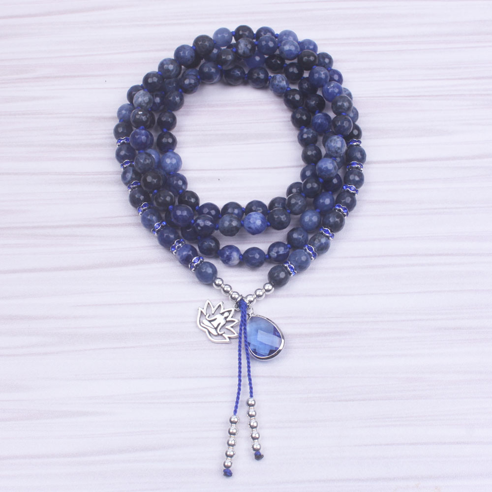 Faceted sodalite long necklace for women 108 mala knotted Handmade Buddha with Blue Glass Pendant Necklace Natural stone jewelry все цены