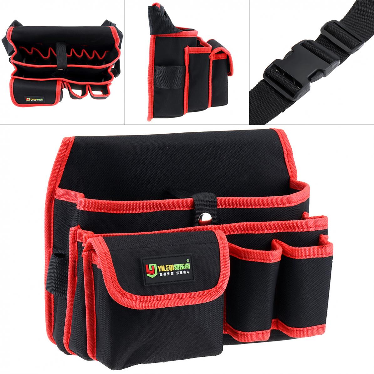 Multifunctional Oxford Cloth Waterproof Tool Bag With 9 Holes 3 Pockets And 130cm Single Hanging Strap For Maintenance Tools