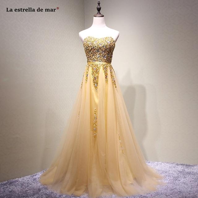 Vestido madrinha longo2019 new tulle crystal sexy sweetheart halter A Line gold bridesmaid dresses luxury gaun pesta dewasa