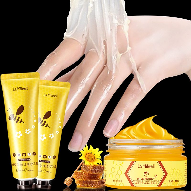 LAMILEE Milk Honey Hand Wax Hand Cream Moisturizing Whitening Exfoliating Calluses Hand Film Hand Care Set