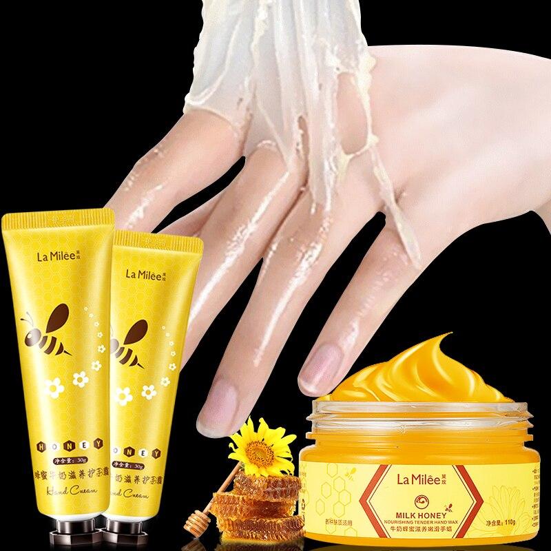 LAMILEE Milk Honey Hand Wax Hand Cream Moisturizing Whitening Exfoliating Calluses Hand Film Hand Care Set