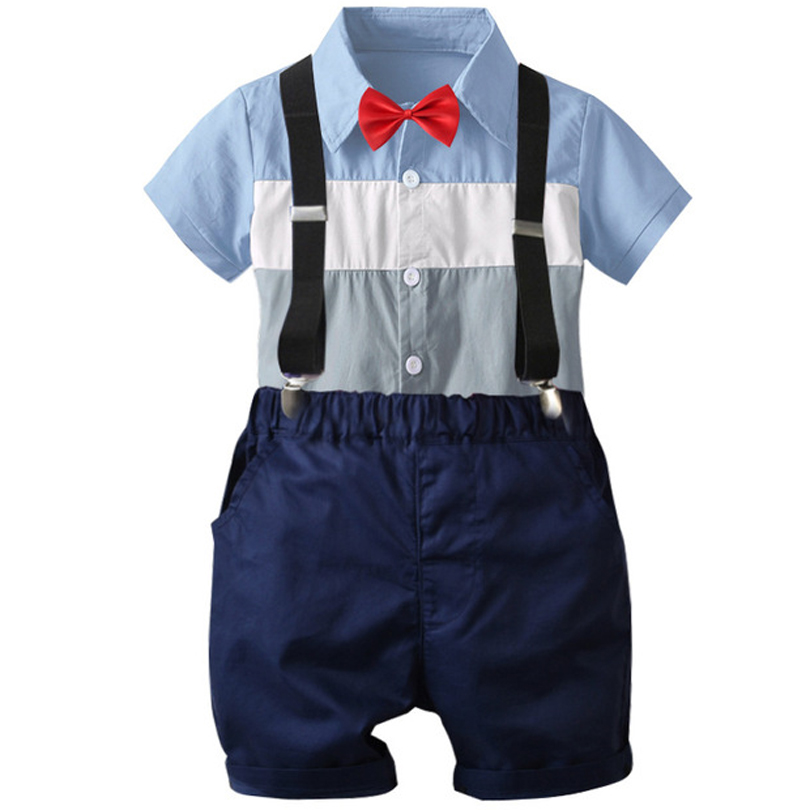 Summer Children Boys Girls Cotton Clothes Kids Bowk-not Color Matching T-Shirt Bib Shorts 2pcs Toddler Baby Casual Clothing Sets(China)
