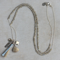 Lotus Mann A level labradorite fine sterling silver pendant necklace