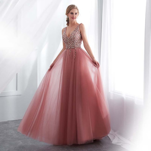 Beading Evening Dress 2020 V-Neck Pink High Split Tulle Sweep Train Sleeveless Prom Gown A-line Lace Up Backless Vestido De 2