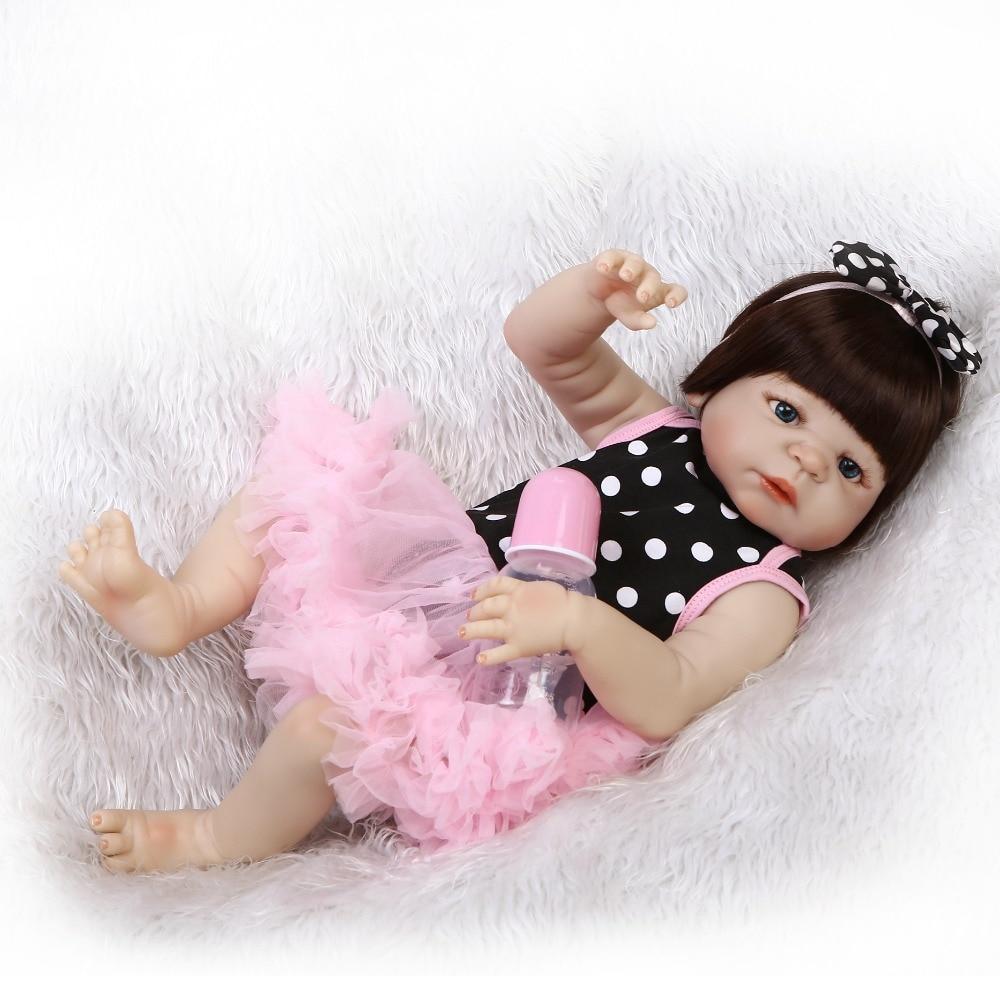 """Npkcolección 19 """"cuerpo completo de silicona Reborn Girl Baby Doll juguetes recién nacido princesa bebés muñeca Regalo de Cumpleaños niños Brinquedos-in Muñecas from Juguetes y pasatiempos    2"""