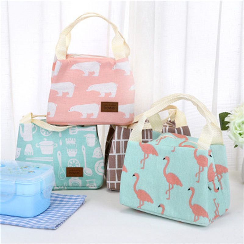 Functional Portable Animal Flamingo Women Lunch Bags Canvas Stripe Insulated Thermal Food Picnic Kids Cooler Lunch Box Bag Tote aequeen thermal lunch bag for kid cute flamingo picnic boxes canvas cartoon animal printing food cooler bags insulated tote
