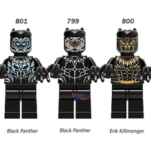 Single Super Hero Movie Series Black Panther Erik Killmonger T'Challa figure building blocks model bricks toys for children