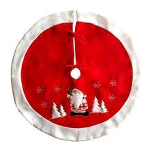 цена на 90cm Christmas Tree Skirt Christmas Embroidered Red Xmas Tree Skirt White Plush Carpet Skirts Christmas Decorations For Home