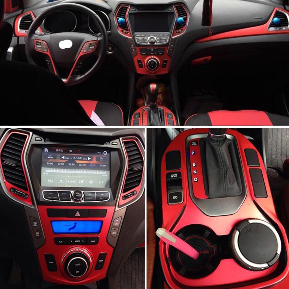 For Hyundai SantaFe IX45 2013-17 Interior Central Control Panel Door Handle Carbon Fiber Stickers Decals Car Styling Accessorie
