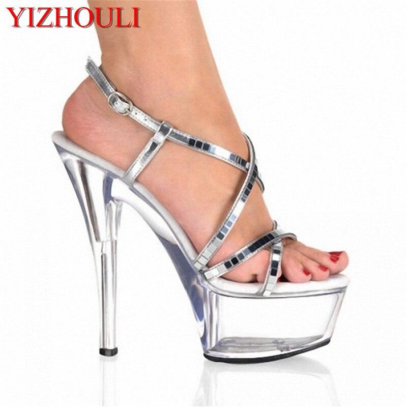 15 cm ultra haute talons plate-forme noble paillette sandales Argent Miroir et Clair 6 pouce Haute Talon Mi Plate-Forme À Lacets sandales