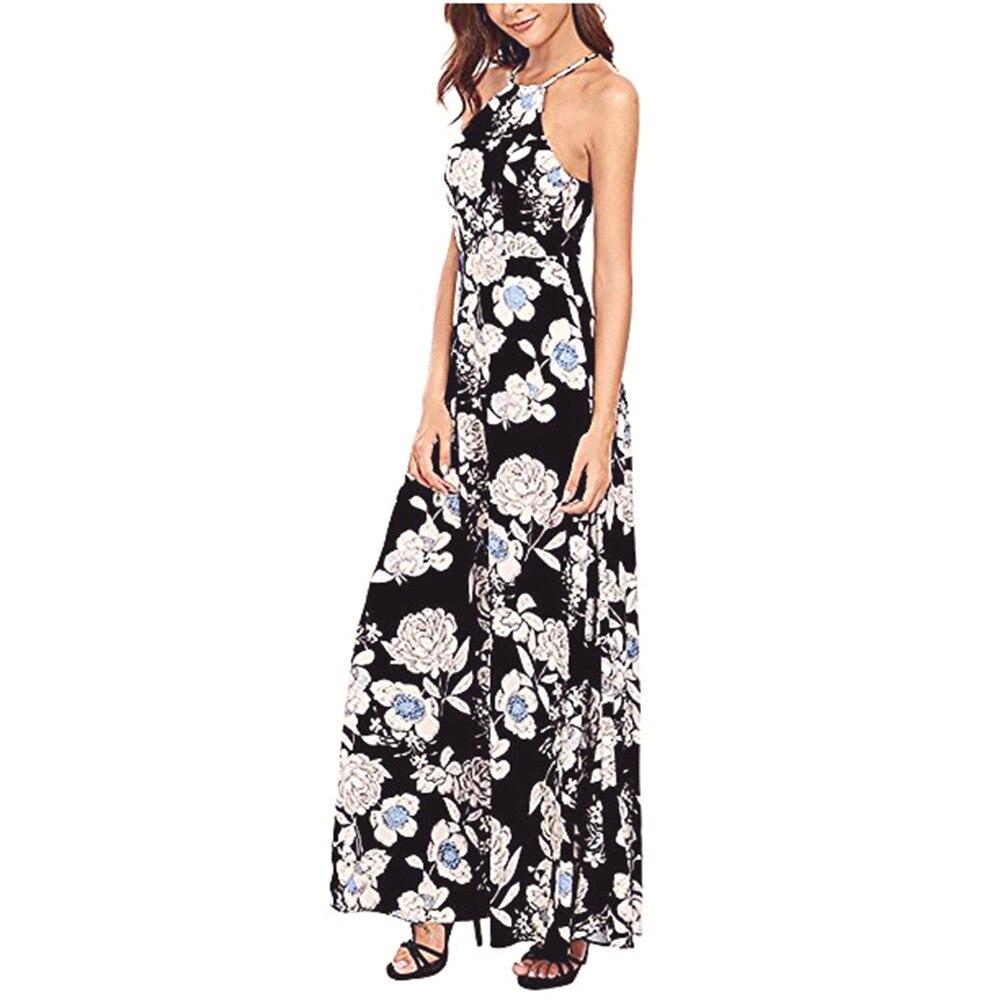 Women dress summer 2018 Hanging neck Boho Long Maxi Evening Party Dress Beach Dresses Sundress May.30 1