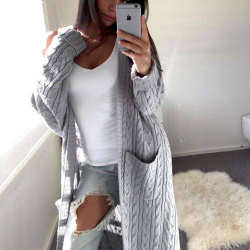 2018 Neue Marke Frauen Damen Winter Lange Hülsen-beiläufige Lose Gestrickte Pullover Frau Jumper Warme Strickjacke Mantel Heißer Entlastung Von Hitze Und Sonnenstich