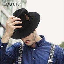 QDKPOTC осень зима широкие поля джентльмен Fedora мужчины перо джаз шляпа плоские поля фетровая шапка Трилби котелок из шерсти шляпы еврейская шляпа