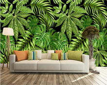 beibehang Modern Cubic papel de parede Wall paper Southeast Asian style green palm tree leaf art mural 3d wallpaper background wallpaper 3d southeast asian style wooden boat 3d wallpaper mural balcony living room decoration background