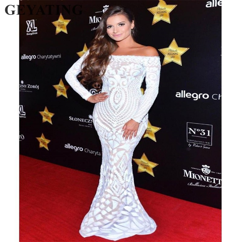 Elegant Off Shoulder Mermaid Long Sleeves   Prom     Dresses   2019 White Sequins Women Maxi Evening party Gowns Black Gold Formal   Dress