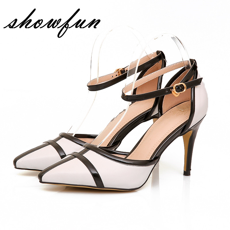 Plus Size Women's Genuine Leather Patchwork Ankle Strap Evening Pumps Brand Designer Pointed Toe Summer High Heeled Shoes Women