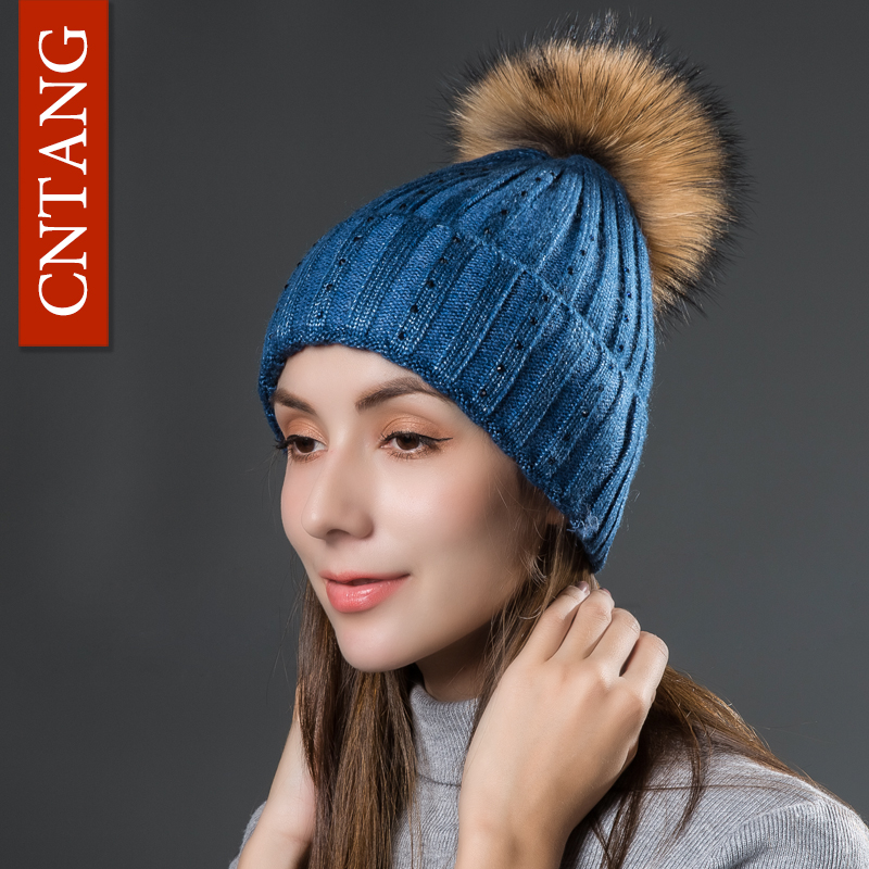 CNTANG Fashion Women Raccoon Fur Hat Female Winter Wool Hats With Rhinestones Autumn Knitted Warm Pom Pom Caps Skullies Beanies hot skullies beanies winter hat pom pom caps for women girl vintage solid hemming warm spring autumn hat female wsep21