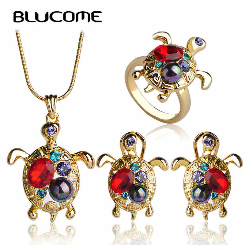 Blucome Red Turtle Jewelry Sets Gold-color Simulated Gray Pearl Necklace Earrings Ring Set Cute Tortoise Pendant Stud Earrings