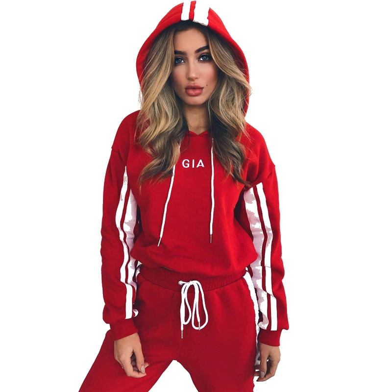 2018 women casual autumn winter red striped letter print tops pullover hooded sweatshirts pants two pieces sets suits tracksuits