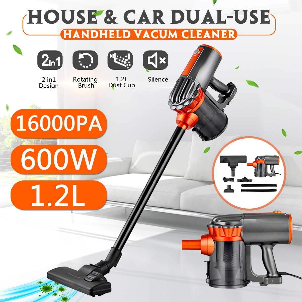 600W 220V Vacuum Cleaner Portable Household Low Noise Vacuum Cleaner Handheld Dust Collector Aspirator Vacum Cleaner