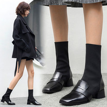 купить Women Mid-calf Boots Leather Cow Leather Sock Boots 22-24.5cm Length Autumn and Winter Boots Women Ashion British Style Boots дешево