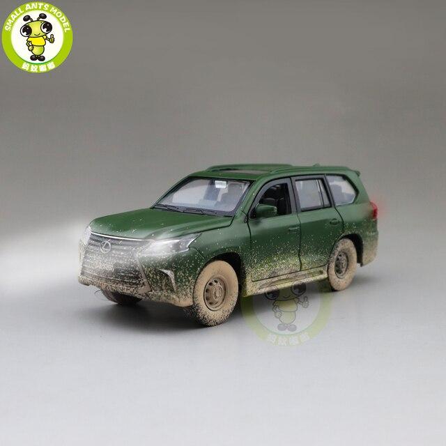 JACKIEKIM modelo de coche fundido a presión LX570 SUV, juguetes para niños, iluminación de sonido, coche extraíble, regalos para chico y Chica, 1/32