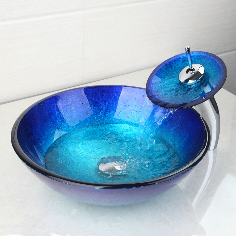 Round Basin Sink Deck Mount Tap+Bathroom Sink Washbasin Glass Hand-Painted 4094-1 Lavatory Bath Brass Set Faucet,Mixer Tap kemaidi us waterfall spout basin tap bathroom sink washbasin tempered glass hand painted 4094 1bath brass set faucet mixer taps