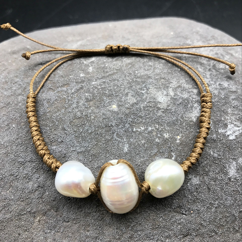Natural freshwater pearl bracelet mother and child family bracelet hand-woven wrapped products Mother's Day gift