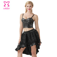 Punk Rave Black PU Leather Bustier Camis Push Up Bra And Victorian Skirt Burlesque Dress Women