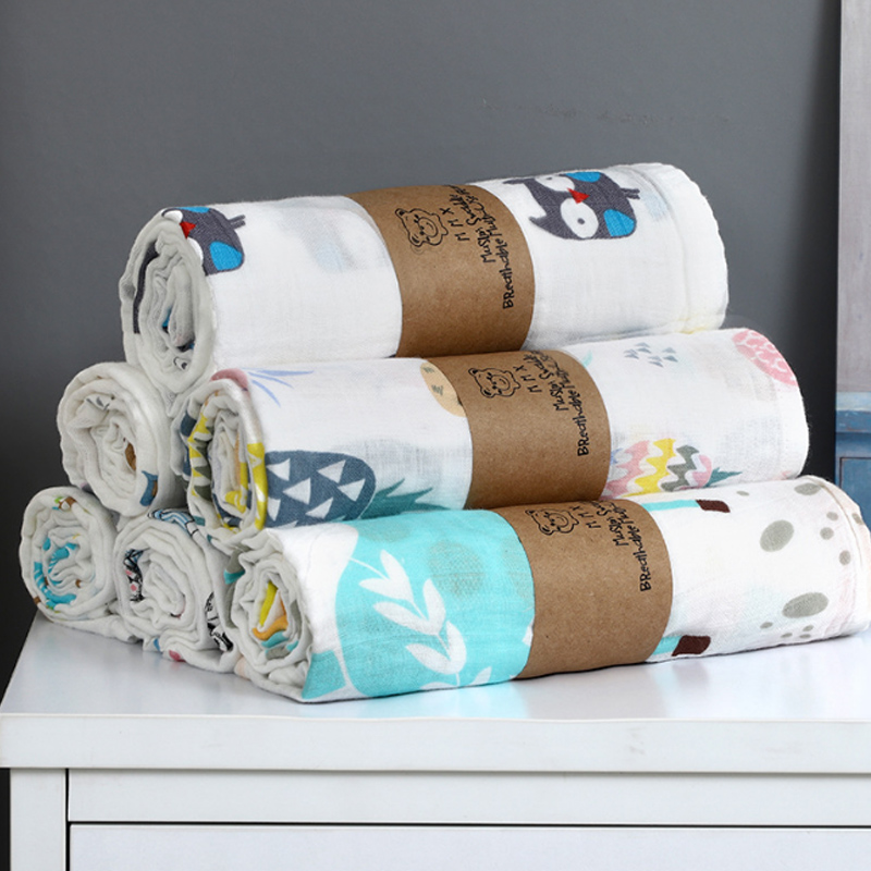 1Pc 100% Cotton Baby Swaddles Soft Newborn Blankets Bath Gauze Infant Wrap Sleepsack Stroller Cover Play Mat