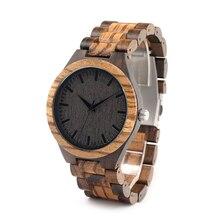 BOBO Ronda BIRD Vintage Zebra Wood Caso Reloj de Los Hombres Con Correa de Cara Con la Cebra De Bambú De Madera de ébano De Madera De Bambú Japonés movimiento