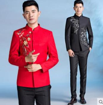Blazer men formal dress latest coat pant designs marriage suit mens Chinese tunic suit wedding suits for men's stand collar red tian qiong mens black wool suits latest coat pant designs chinese style stand collar slim fit groom wedding suit formal wear