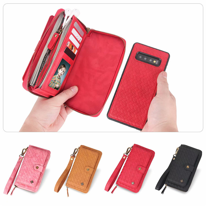 Multifunction Woven Pattern Zipper Flip Wallet Leather Stand Cover Case For Samsung S10 S8 S9 Plus S10e Note 8 9 Woman Handbag